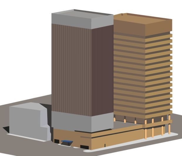 Sketch of potential residential addition to Gateway Tower