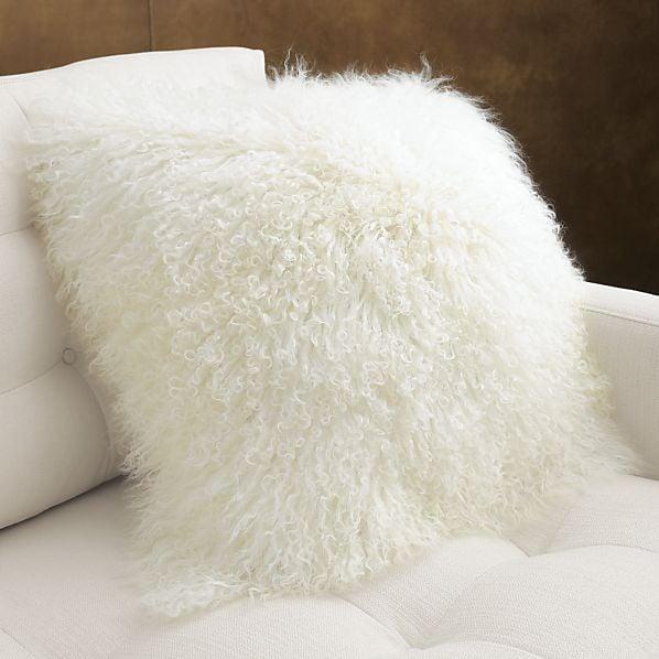 crate and barrel mongolian fur pillow