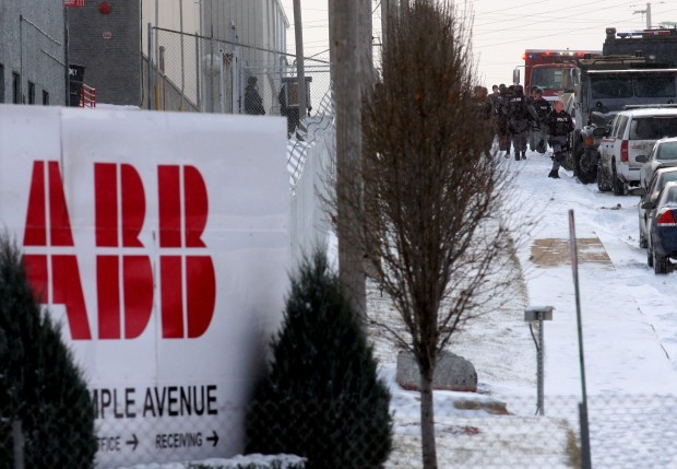 The ABB plant immediately after the shootings