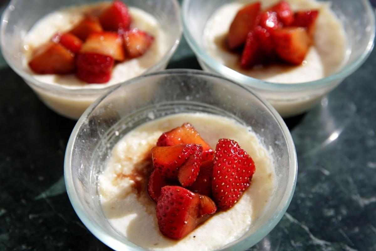 Onion Custard with Balsamic Strawberries