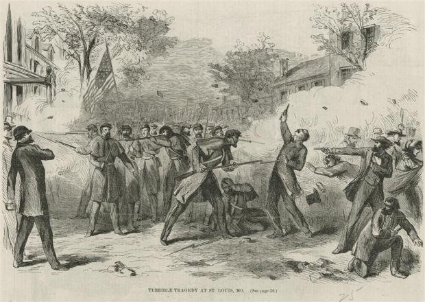 Civil War street battle