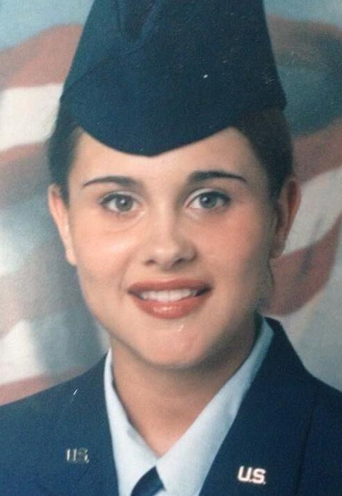 Ally Minks at U.S. Air Force basic training, July 2000