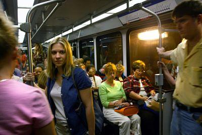 Riders aboard MetroLink train