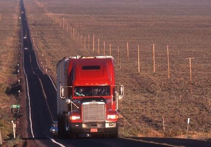 Big rig on a rural road