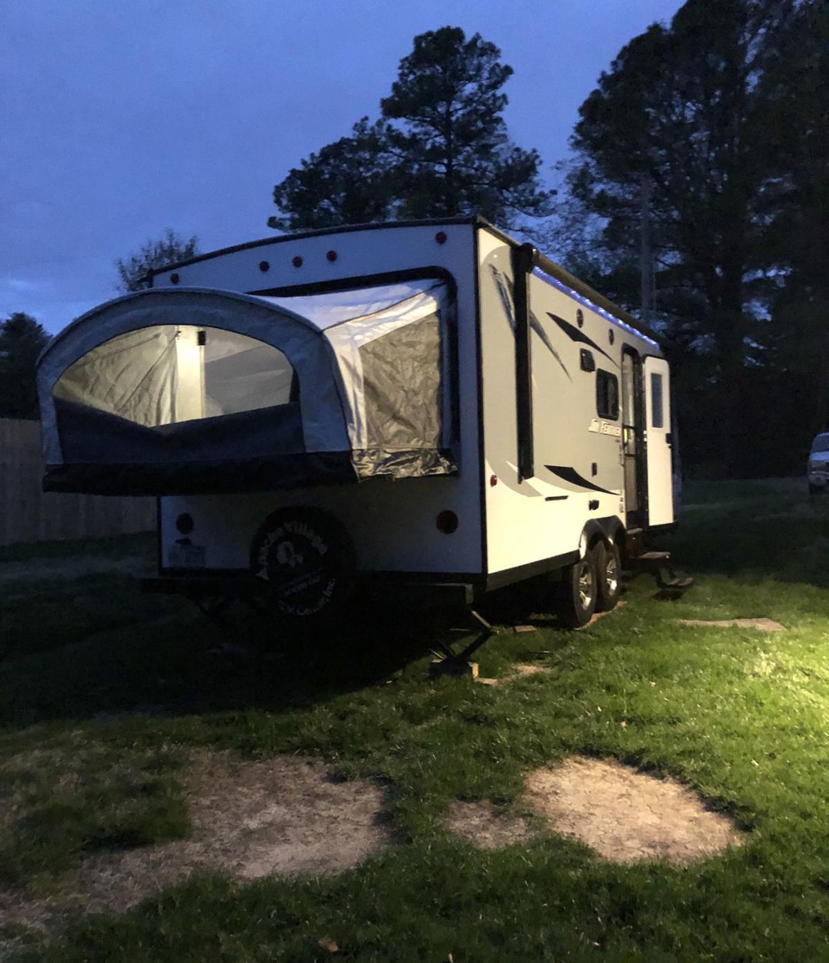 Backyard camping camper