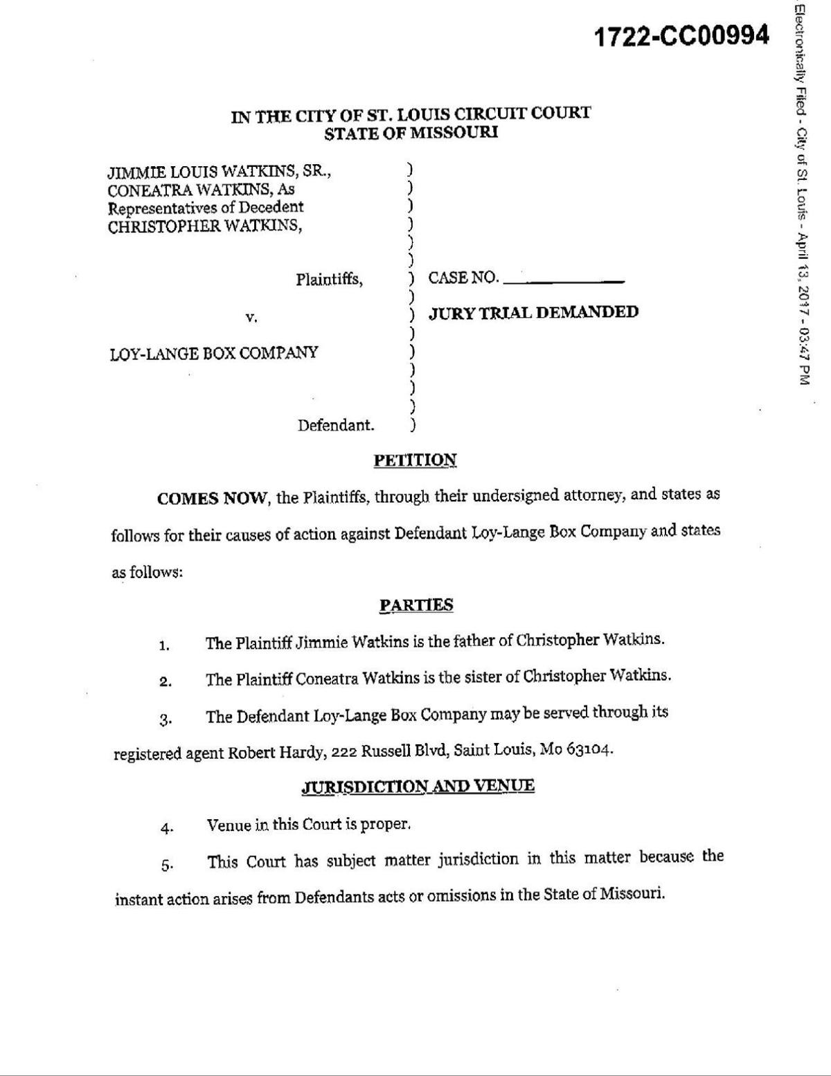 Read the wrongful death lawsuit by Coneatra and Jimmie Louis Watkins