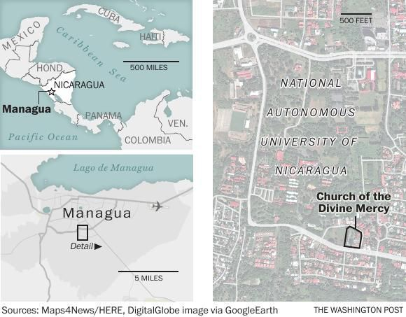 A map locating the Church of the Divine Mercy, in Managua, Nicaragua ...
