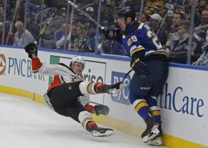 Blues win ninth straight at home, beat Ducks 4-1