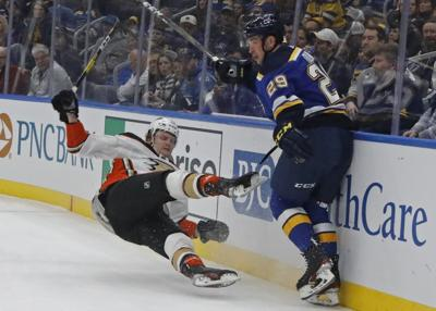The Blues take on the Ducks at the Enterprise Center