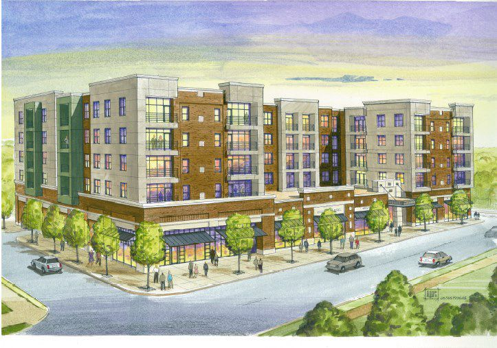 Rendering of Dogtown mixed-use development