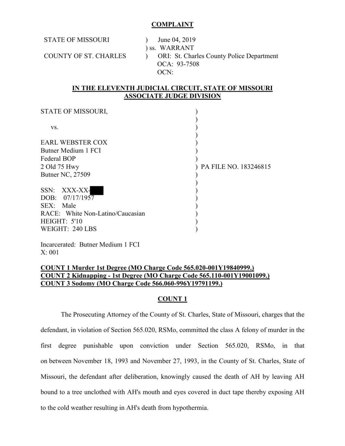 Read the felony complaint filed against Earl Webster Cox in St. Charles County
