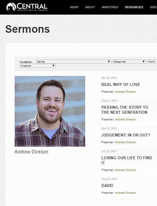 Andrew Dickson sermons at Central Presbyterian Church in Clayton