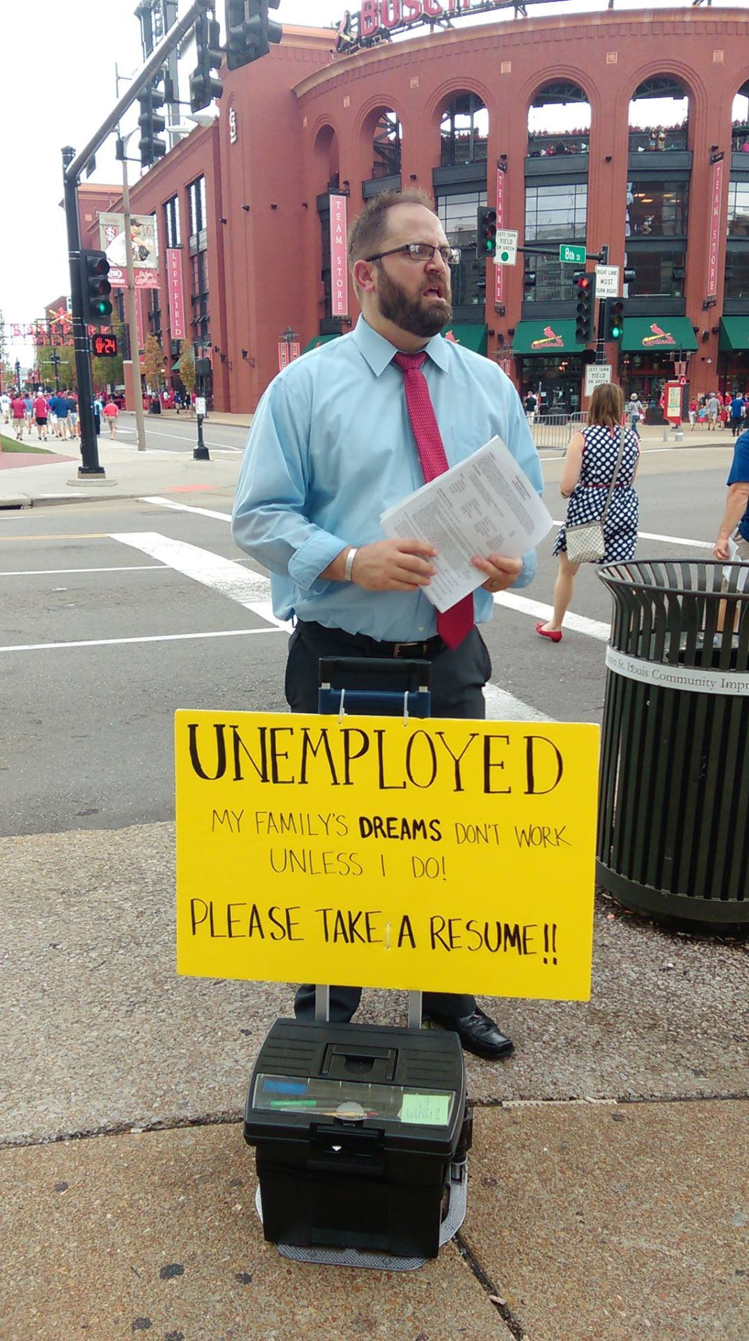 After Handing Out His Resume At Busch Stadium Unemployed Man