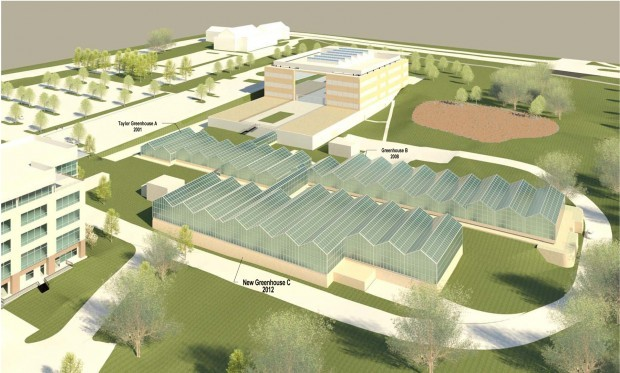 Rendering shows planned greenhouse in foreground