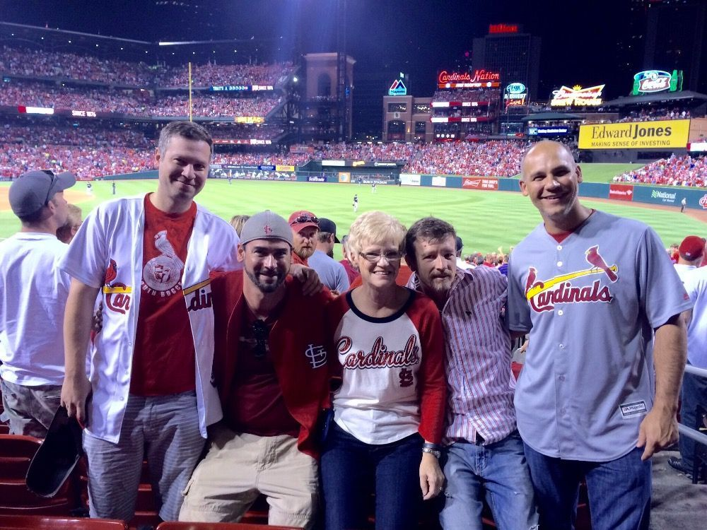Chris Sanna and family at Cardinals game