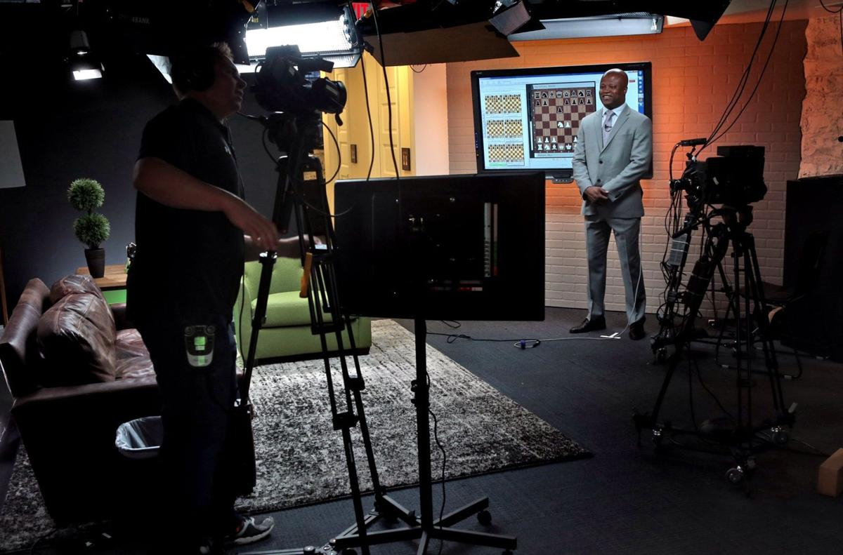 New broadcasting studio for 2015 U.S. Chess Championships- view of studio touch screen