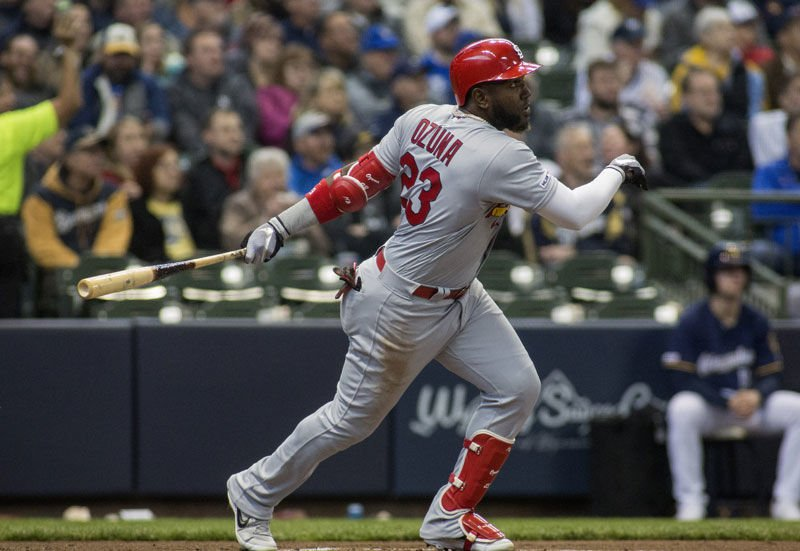 Marcell Ozuna homers against the Brewers