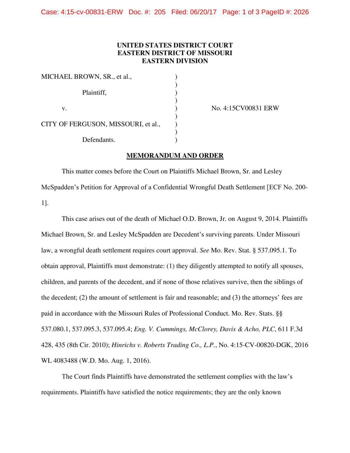 Michael Brown settlement approval