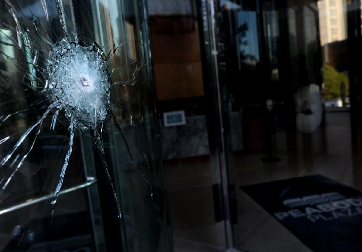 Several windows shattered on Peabody Plaza over Labor Day weekend