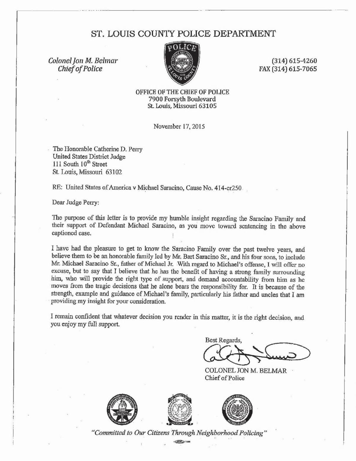Letters of support about Michael Saracino II