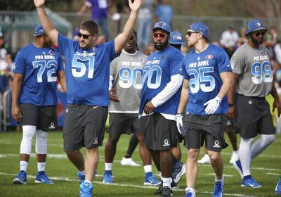 1fd8b5e1754 With 44 newbies, Pro Bowl could be more intense than usual. NFC Atlanta  Falcons center Alex Mack (51) gestures during NFL football Pro Bowl practice  ...