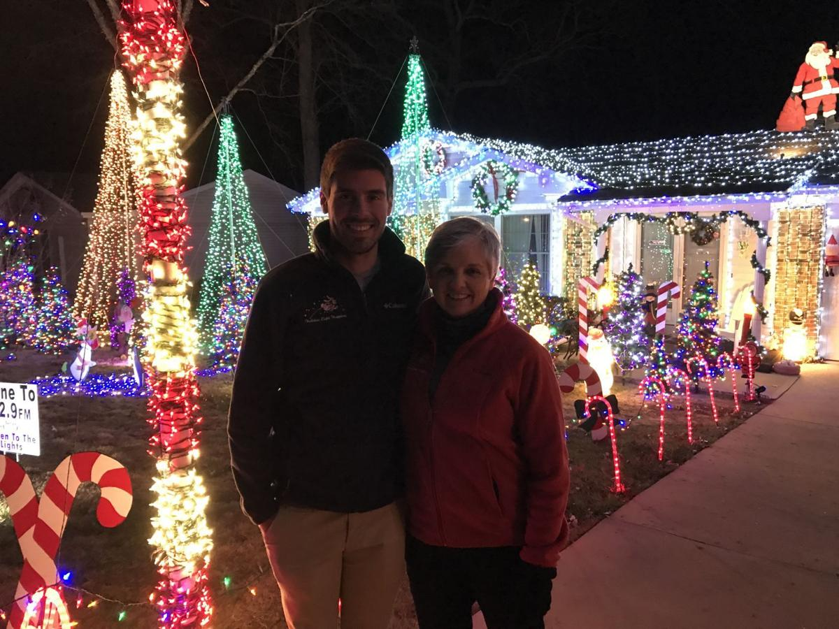 thake and miller mug in front of lights - Christmas Lights St Louis