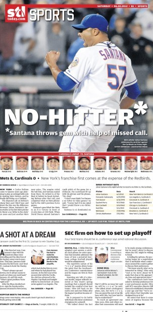 Saturday's sports front of the Post-Dispatch
