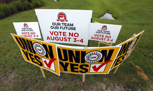 Nissan UAW vote yes signs