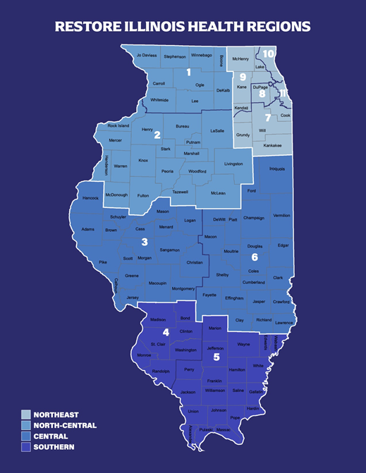 Illinois reopening regions