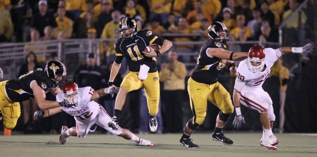 Missouri played Oklahoma in a Big 12 conference football game at Columbia, Mo.