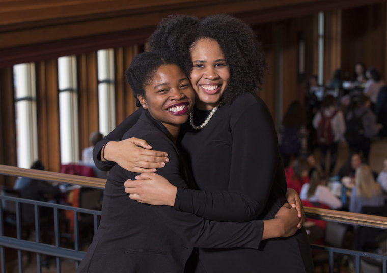 Jasmine Brown (left) and Camille Borders, both seniors at Washington University, have been named 2018 Rhodes Scholars. Photo: St. Louis Dispatch