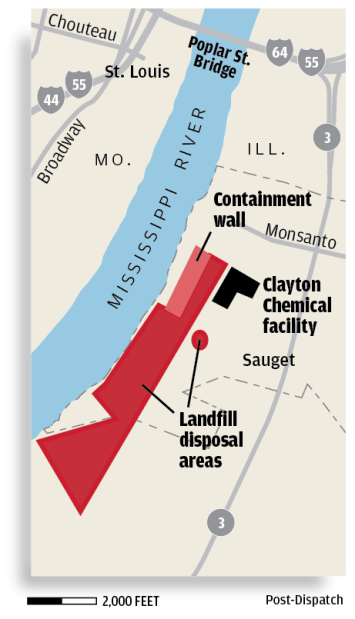 Sauget Superfund cleanup sites map