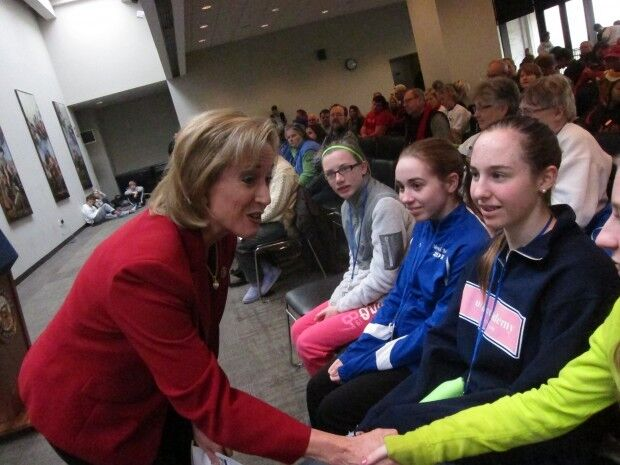 """Rep. Ann Wagner of Ballwin greets Missourians gathered in Washington for the annual """"March for Life."""" Jan. 25, 2013."""