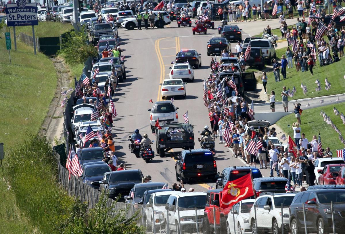Thousands line procession route to honor Marine Lance Cpl. Jared Schmitz