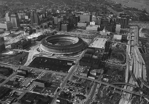 Aerial view of Busch Stadium in 1966