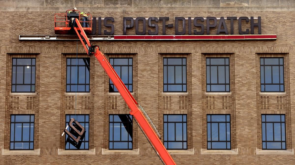 Post-Dispatch sign lowered, making way for Square