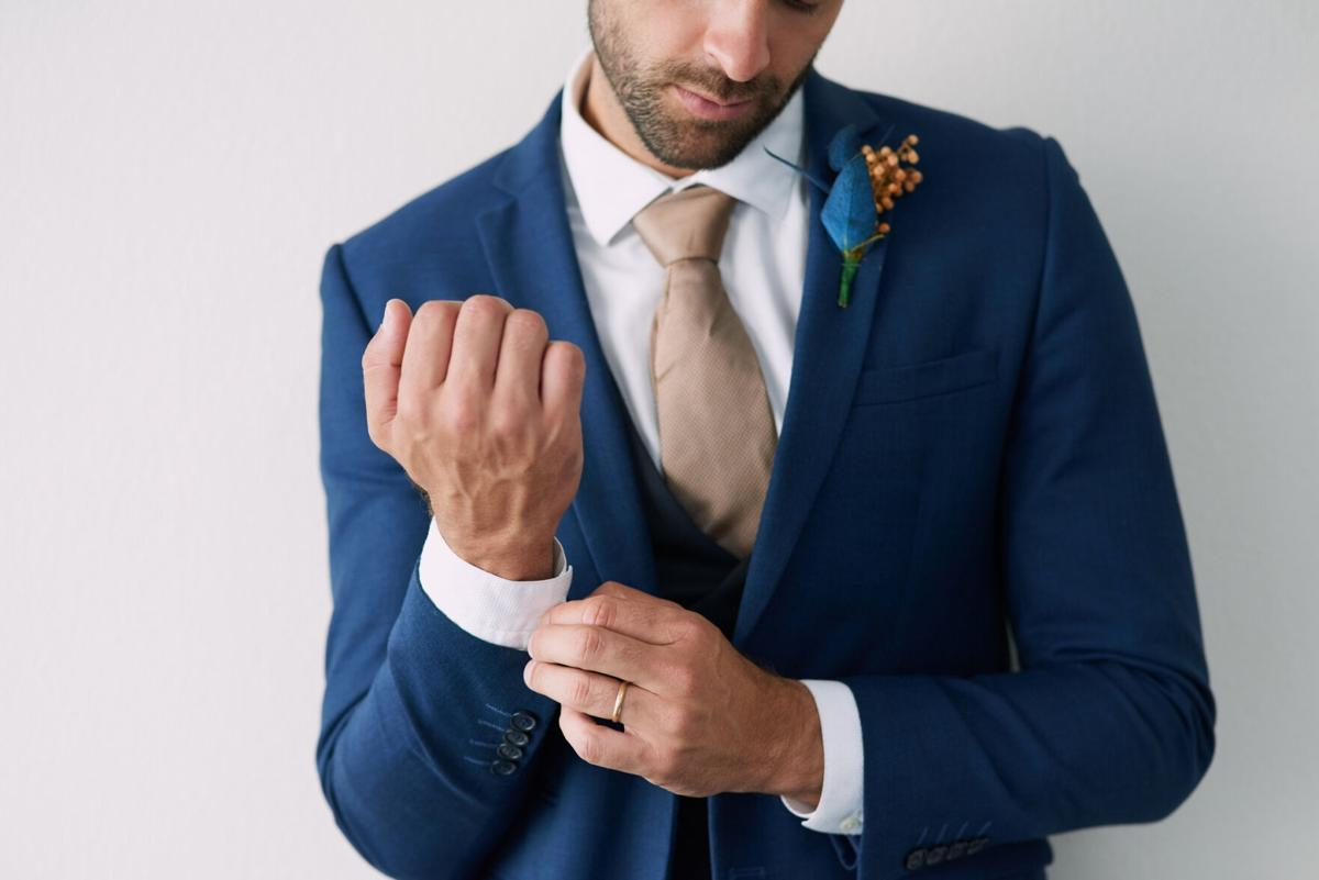 Upping his style game on his wedding day