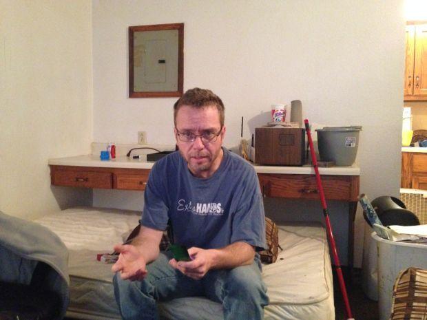 Scott Moyers at his apartment