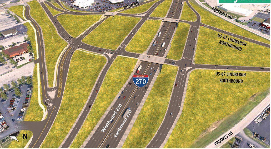 New I-270 interchange at N. Lindbergh Blvd.