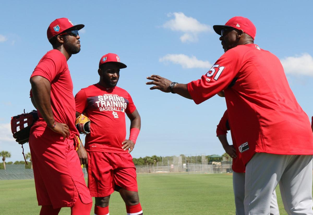 65efdff11 Marcell Ozuna arrives at Cardinals camp with big smile and big bat |  Benjamin Hochman | stltoday.com