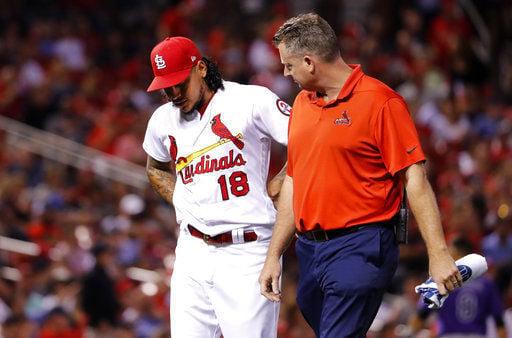 Cardinals pitcher Carlos Martinez departs with injury