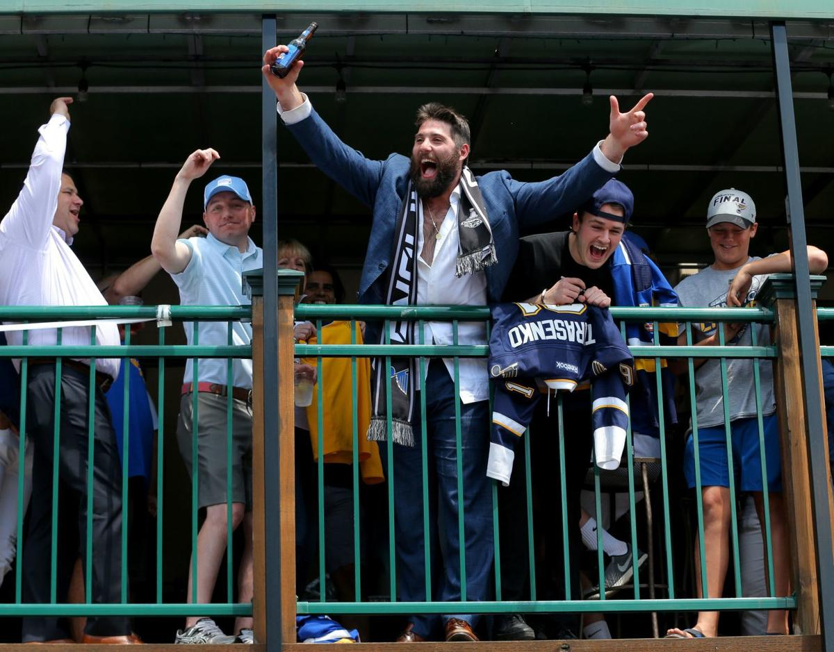 Blues celebrate at O.B. Clark's as fans celebrate with them