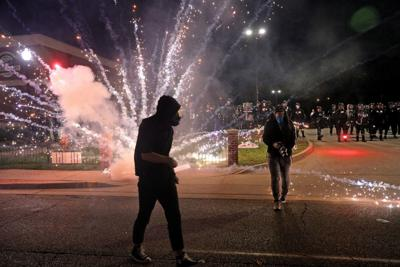 Police and protesters meet in Ferguson