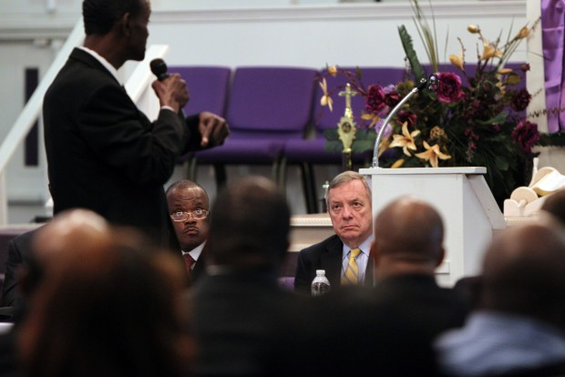 U.S. Senator Dick Durbin attends meeting in East St. Louis