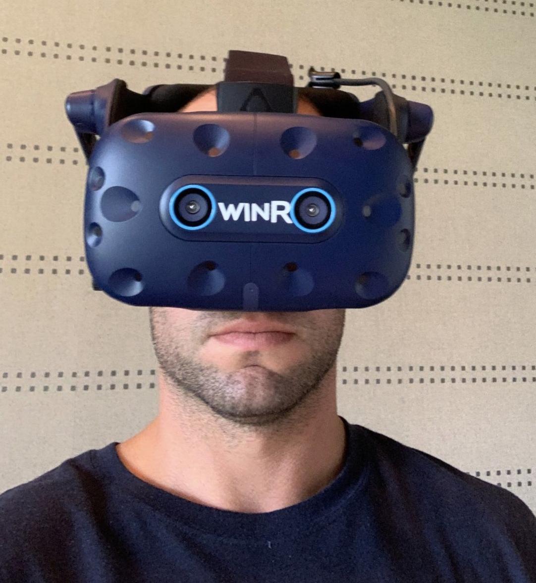 Cardinals first baseman Paul Goldschmidt wears WIN Reality headset