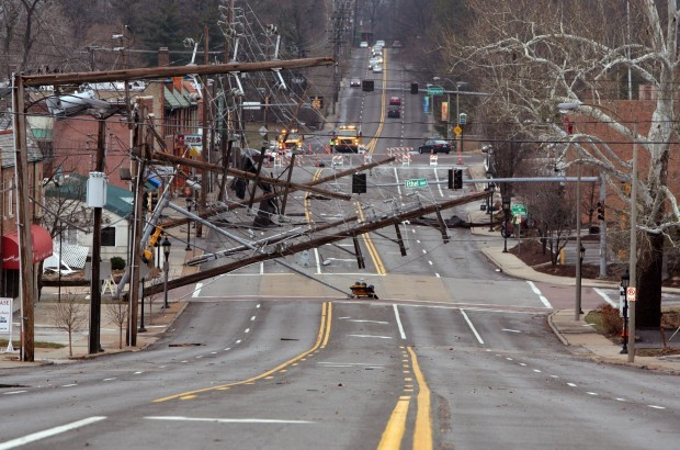 Storm knocks power poles down in Richmond Heights