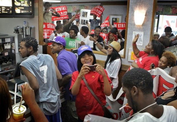 Service workers protest at McDonald's