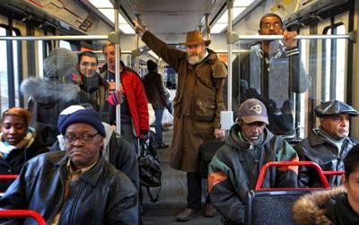 Riders aboard crowded MetroLink train