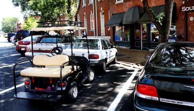 Golf carts in Soulard