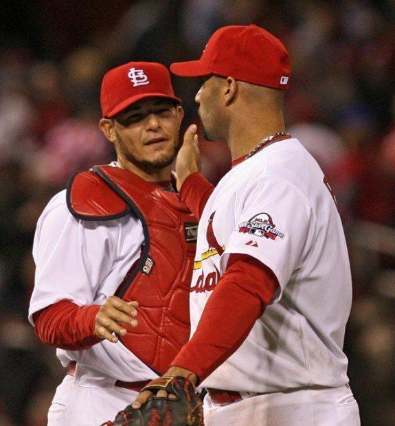 Yadier Molina and Albert Pujols after a game